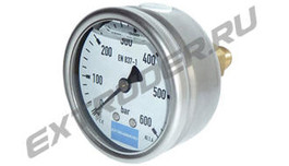 Manometer 600 bar Lisec for the hydraulic station, glycerin-filled