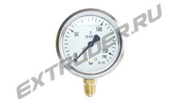 Manometer HDT 3410012 60 bar for filters; HDT 3410212 160 bar for the hydraulic station, glycerin-filled