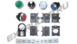 Indicator attachments, illuminated pushbuttons, pushbuttons, toggle handles, insert shields, label holders, LED elements