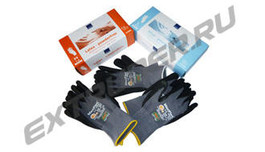 Gloves for technical work: latex, vinyl, nylon with patented nitrile microfoam coating